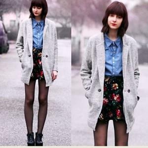 Banyak jaket menggunakan warna abu-abu. Selipkan cerahnya pakaian di balik mantelmu.