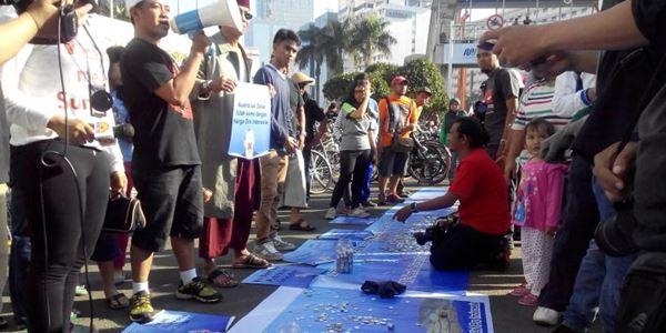 Aksi Kumpul 'Koin untuk Australia' juga digelar di Bundaran HI