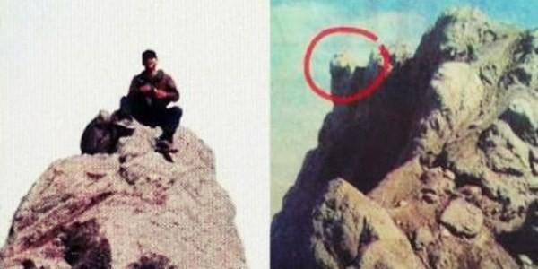 Posisi Batu sesaat sebelum jatuh terpelesetnya Ery Kedalam Kawah gunung merapi