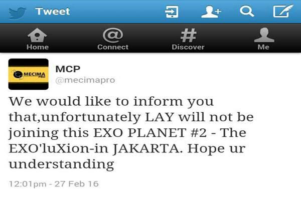 Promotor Umumkan Lay Absen di Konser EXO Planet #2 THE EXO'luXion