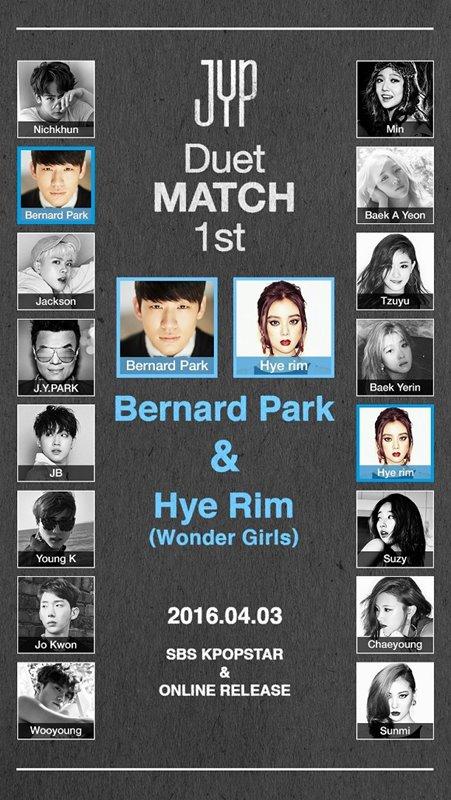 JYP Sebut Bernard Park & Hye Rim yang Pertama Tampil di JYP Nation