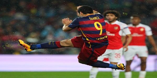 tendangan voley suarez tanda kemenangan El Barca