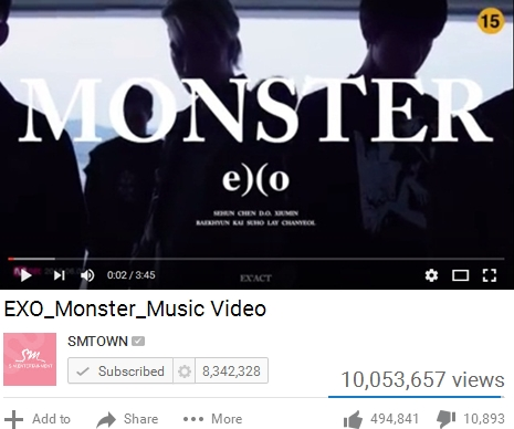 Wooww!! MV 'Monster' EXO Lampui 10 Juta Viewer