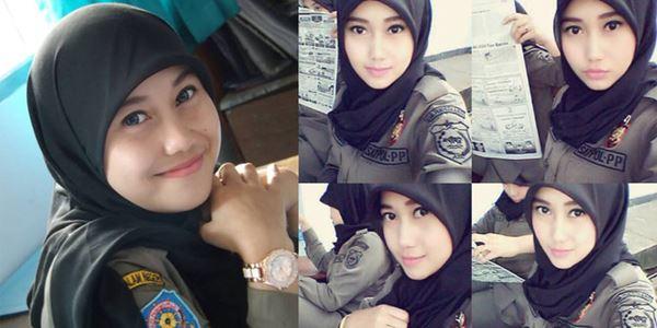 foto dengan seragam Satpol PP Cantik dari Banten