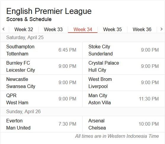 jadwal lengkap liga inggris pekan 34
