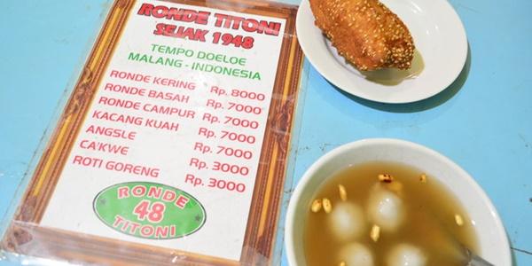 Ronde Titoni, Salah Satu Kuliner Legenda di Kota Malang