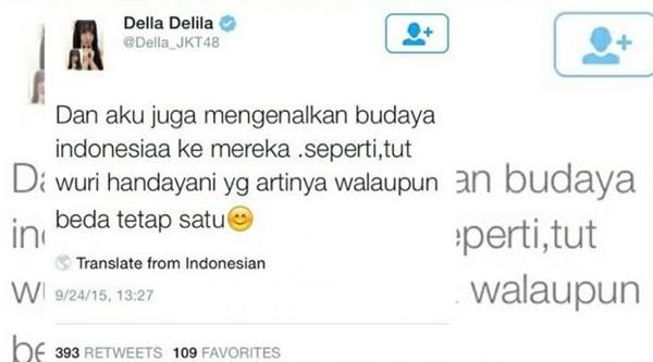 Salah Artikan Tut Wuri Handayani, Della JKT48 Dibully Netizen