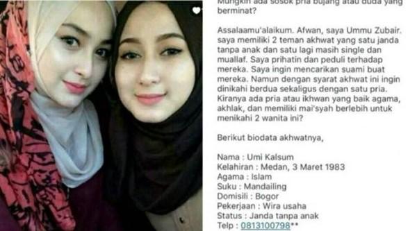 Wow, Dua Wanita Cantik Ini Mencari Suami dan Siap Dipoligami!