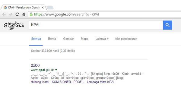 webisite KPAI di hack