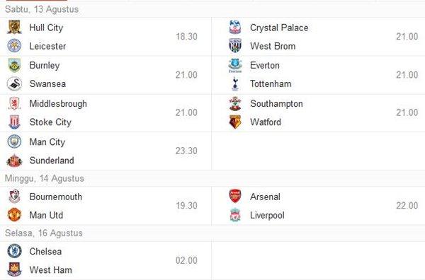 jadwal liga inggris malam nanti pekan minggu pertama